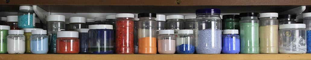 shelf of glass materials