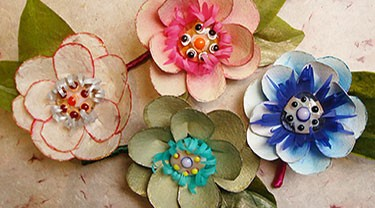 Glass and Paper Flowers